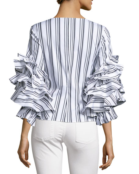Athena Striped Ruffle-Sleeve Wrap Blouse