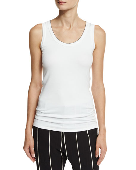 Brunello Cucinelli Monili-Tipped Scoop-Neck Tank Top