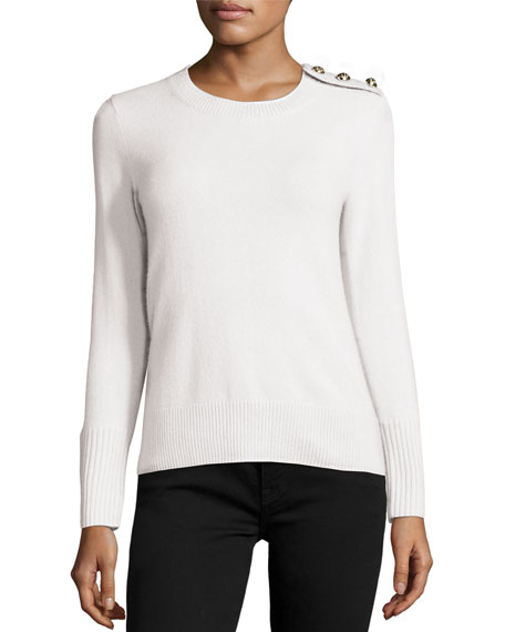 Burberry Cashmere Button-Shoulder Sweater, Natural White