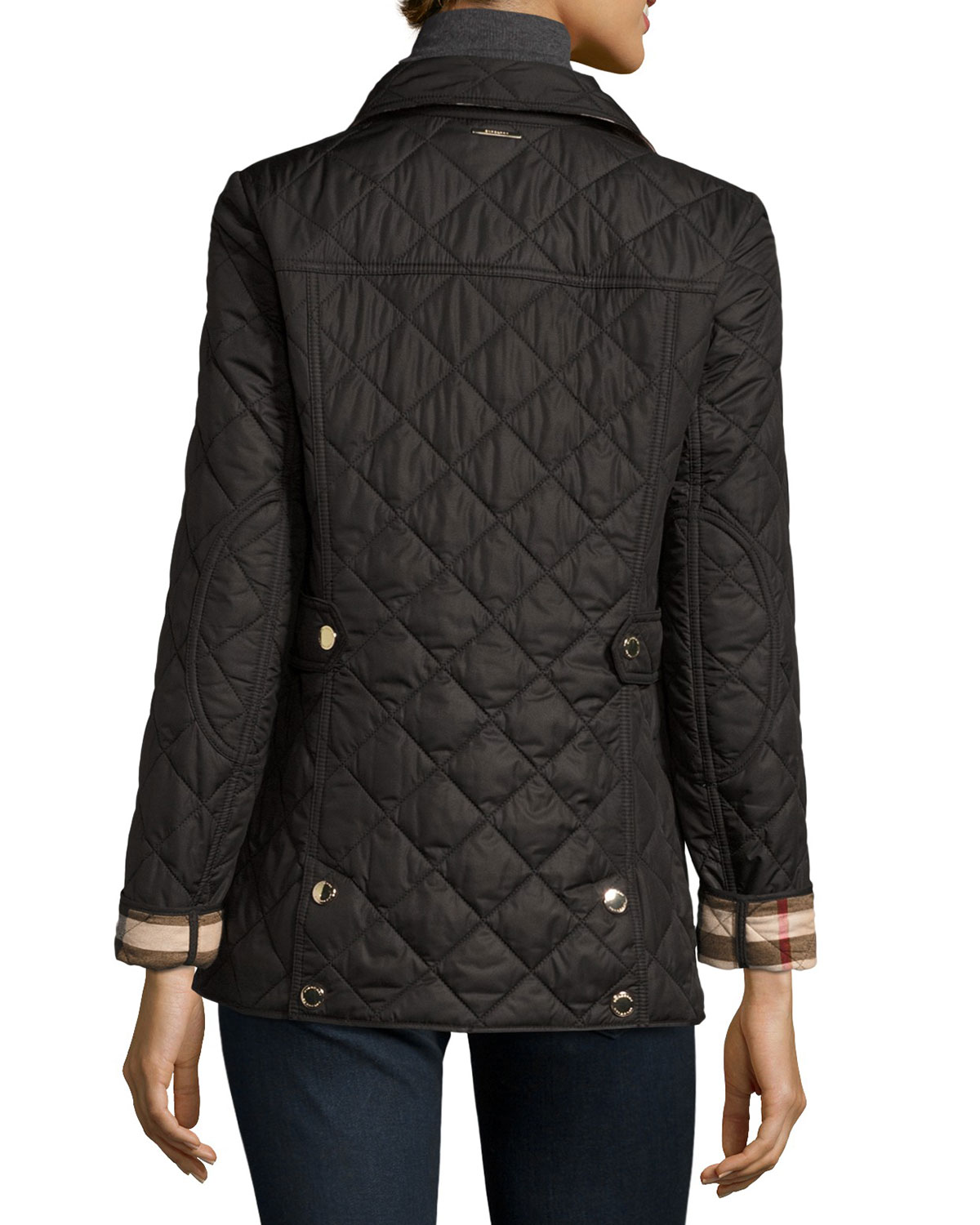 chalk jackets white in product quilt quilted brit burberry s fitted gallery women jacket lyst clothing