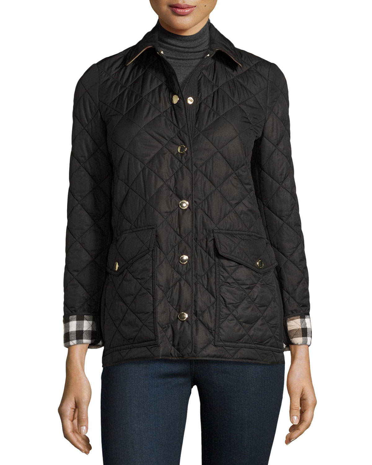 bomber jacket bikers panel burberry men quilted jackets quilt mens leather pin s