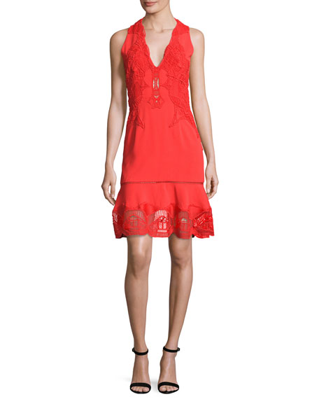 Jonathan Simkhai Lace-Appliqué Crepe Cocktail Dress