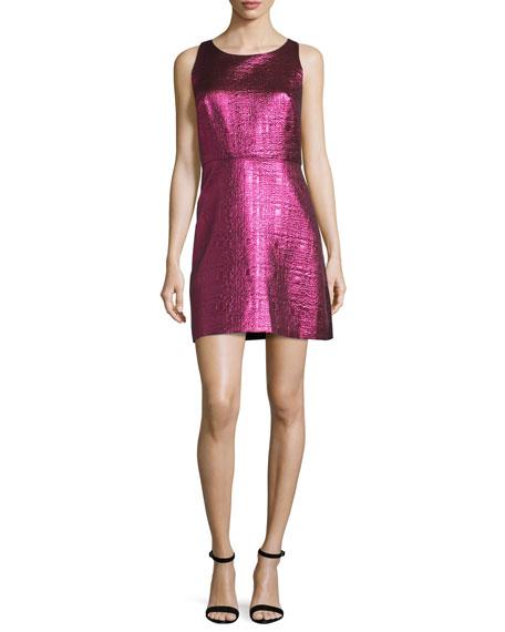 Milly Sleeveless Lurex?? Jacquard A-Line Dress, Fuchsia