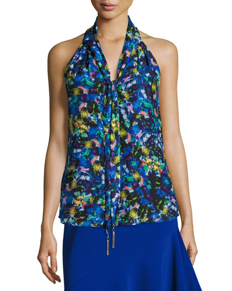 Jewel-Print Satin Chiffon Halter Top, Multi