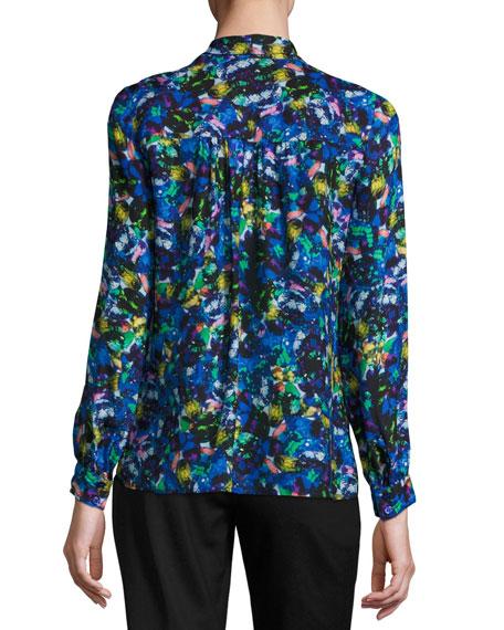 Long-Sleeve Jewel-Print Satin Chiffon Tie-Neck Blouse, Multi