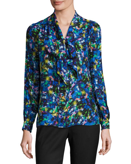 Milly Long-Sleeve Jewel-Print Satin Chiffon Tie-Neck Blouse,