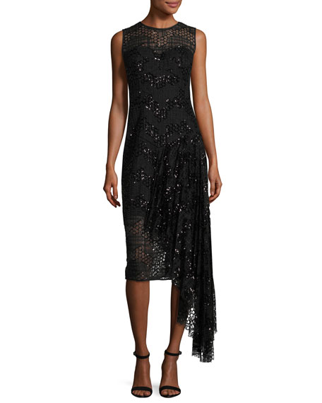 Katia Sleeveless Asymmetric Sequined Tulle Sheath Dress