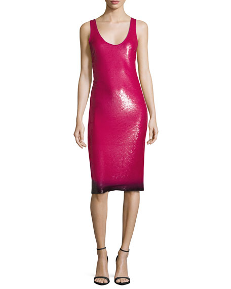 Ralph Lauren Collection Sequined Ombre-Hem Sleeveless Dress, Hot