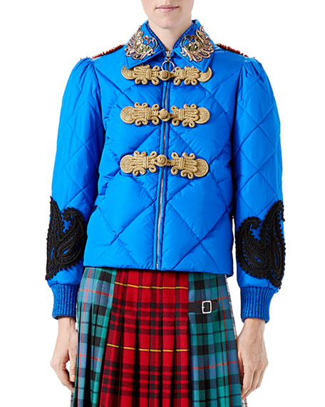 Caspian Nylon Quilted Bomber Jacket, Bright Blue
