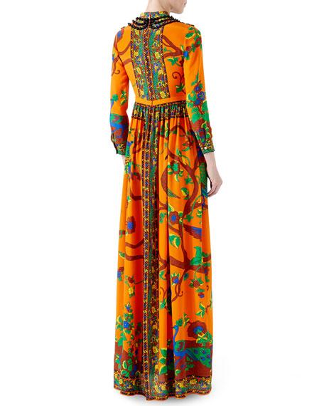 Jubilee-Print Silk Gown, Orange