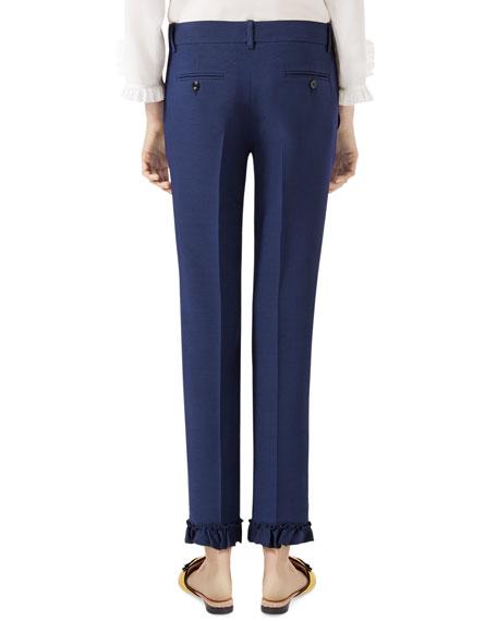 Wool-Silk Ruffled Pants, Royal Blue