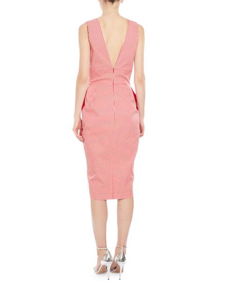 Elida Gingham-Print Sleeveless Dress, Red