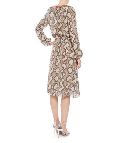 Mora Python-Print Long-Sleeve Dress, Beige