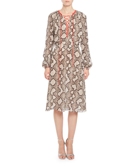 Mora Python-Print Long-Sleeve Dress, Beige
