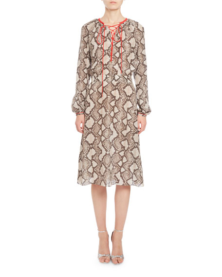 Altuzarra Mora Python-Print Long-Sleeve Dress, Beige