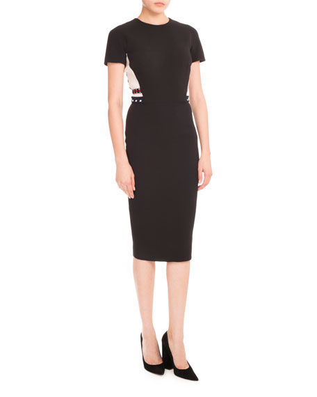 Victoria Beckham Ribbed-Inset Short-Sleeve Dress, Black/Cream/Navy
