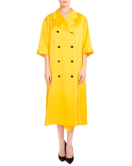 3/4-Sleeve Double-Breasted Pleated Coat, Yellow
