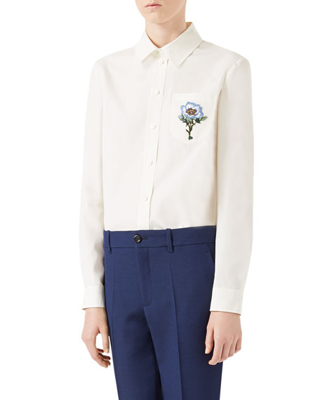 Gucci Cotton Poplin 70's Button-Front Blouse, White