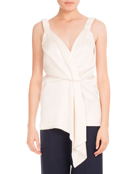 Victoria Beckham Faux-Wrap V-Neck Top, Ivory