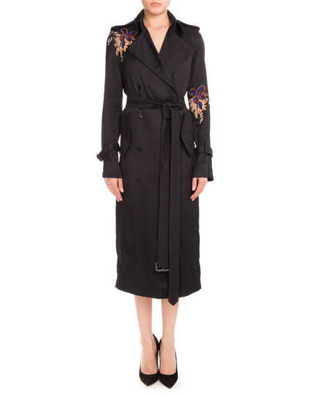 Victoria Beckham Floral-Embroidered Double-Breasted Trenchcoat,