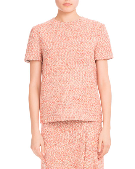 Tweed Short-Sleeve Round-Neck Top