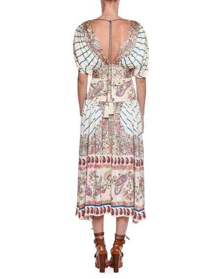 Jasmin Pleated Printed Midi Dress, Multi
