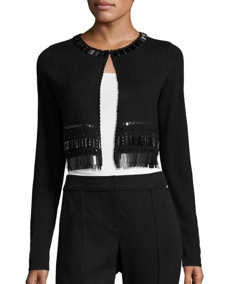 Elie Tahari Lumina Embellished Merino Cropped Cardigan, Black