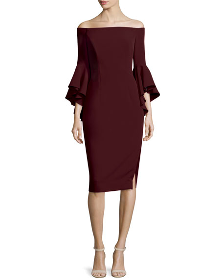 Milly Selena Off-The-Shoulder Sheath Dress, Bordeaux