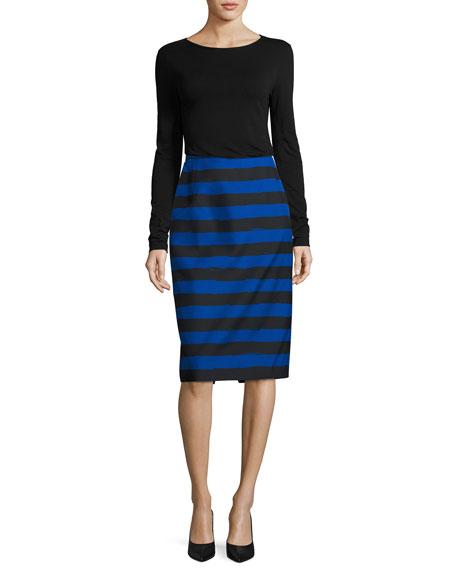 Striped Slim Pencil Skirt, Black/Blue