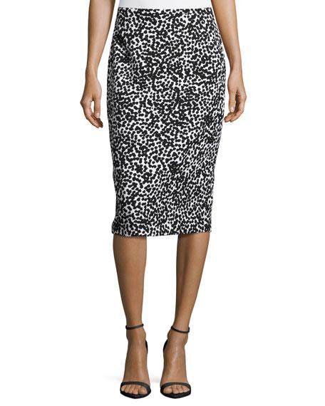 Michael Kors Allover Dotted Matelasse Pencil Skirt, White/Black