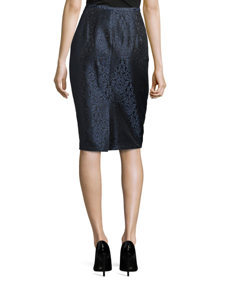 Paisley Jacquard Pencil Skirt, Black/Blue