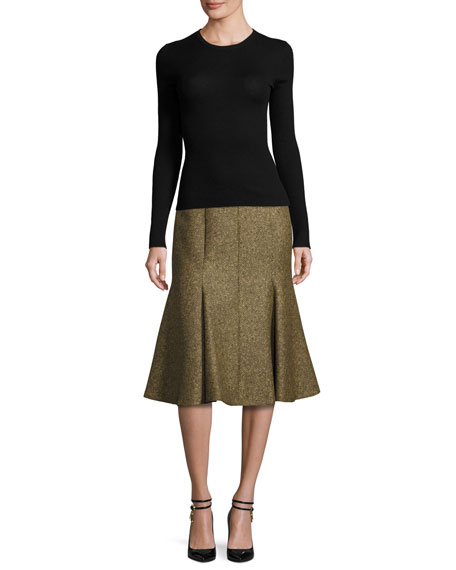 Fitted Jacquard Trumpet Skirt, Olive