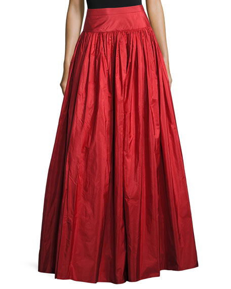 Taffeta Silk Ball Skirt, Crimson