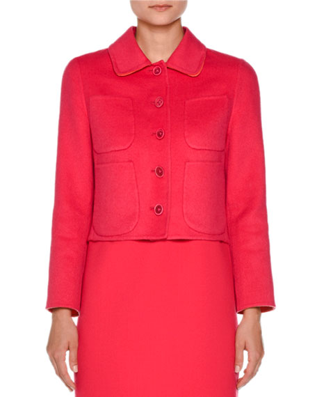 Agnona Cropped Four-Pocket Cashmere Jacket, Hibiscus/Coral