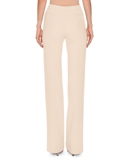 Flat-Front Flare-Leg Trousers, Off White
