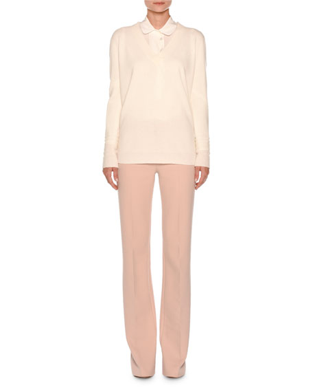 Flat-Front Flare-Leg Trousers