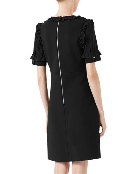 Ruffled-Neck Dress, Black
