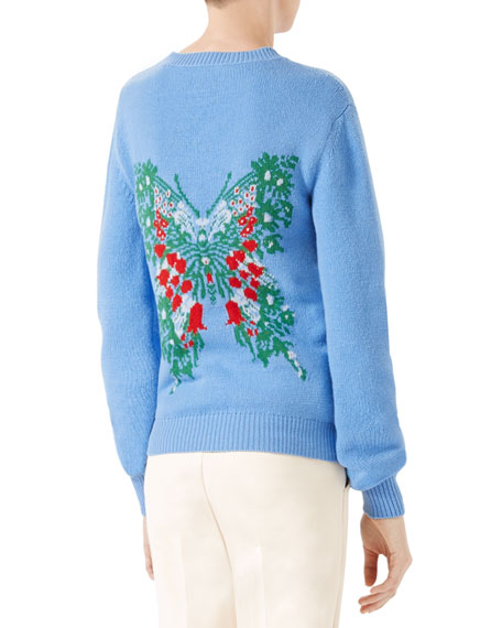 Corsage Intarsia Wool Knit Top, Light Blue
