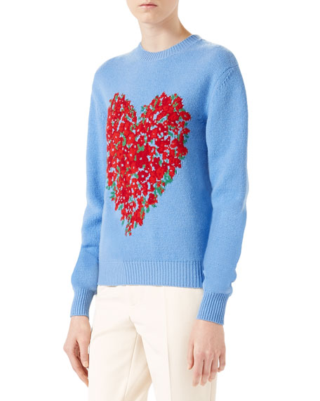 Gucci Corsage Intarsia Wool Knit Top, Light Blue