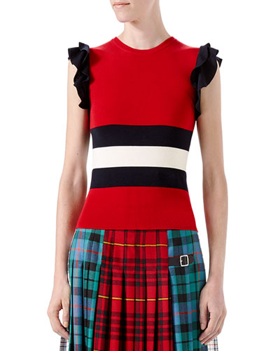 Knit Wool Top, Red/Black