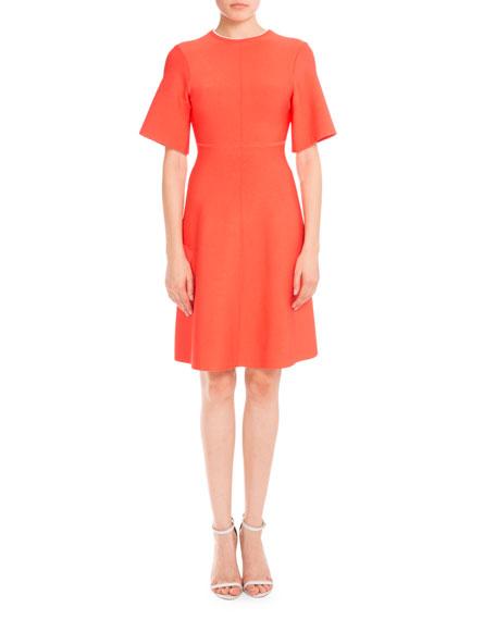 Half-Sleeve Twist Open-Back Dress, Hot Coral
