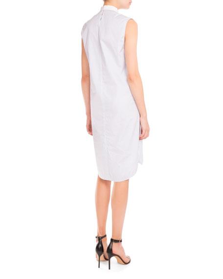 Striped Bib-Front Sleeveless Shirtdress, Powder Blue