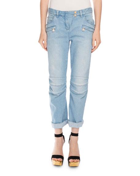 Balmain Roll-Cuff Boyfriend Moto Jeans, Light Blue