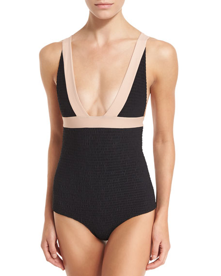 Isabella Smocked One-Piece Swimsuit, Crete Colorblock
