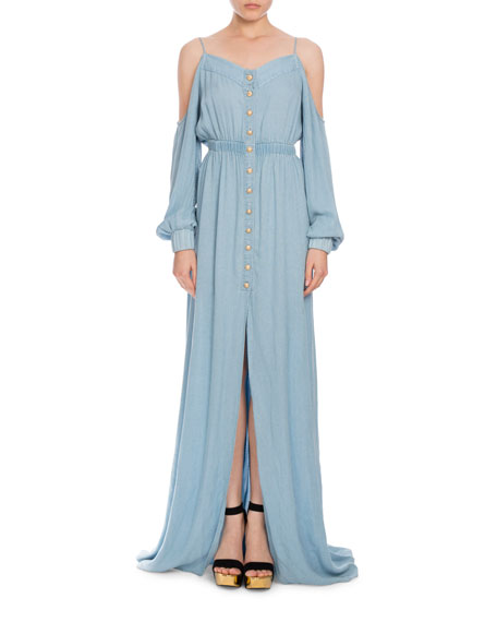 Cold-Shoulder Chambray Maxi Dress, Light Blue
