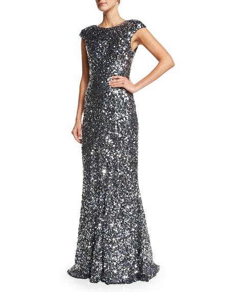 Rachel Gilbert Alyssa Cap-Sleeve Sequined Gown, Silver