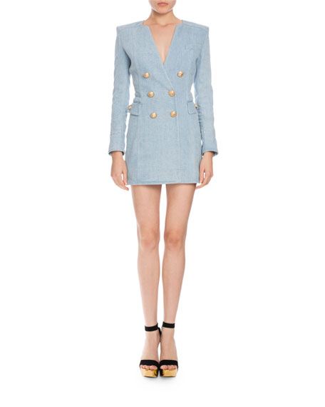 Double-Breasted Denim Mini Dress, Light Blue