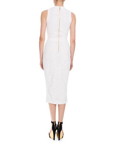 BALMAIN Midi dresses SLEEVELESS V-NECK JACQUARD MIDI DRESS