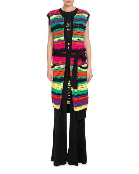 Balmain Horizontal-Stripe Knit Vest, Multi/Black