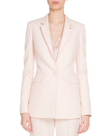 Fitted Single-Button Blazer, Light Pink